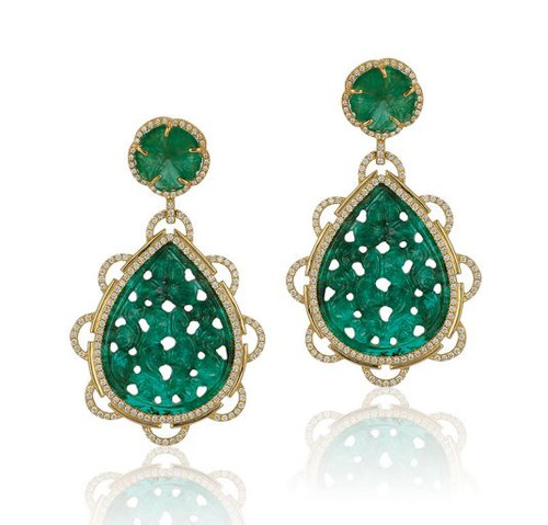 Emerald Carved Earrings