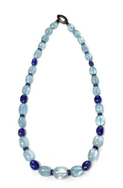 Blue Topaz and Tanzanite Bead Necklace