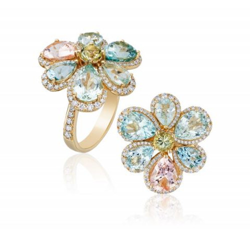 Multicolor Aqua Cluster Ring
