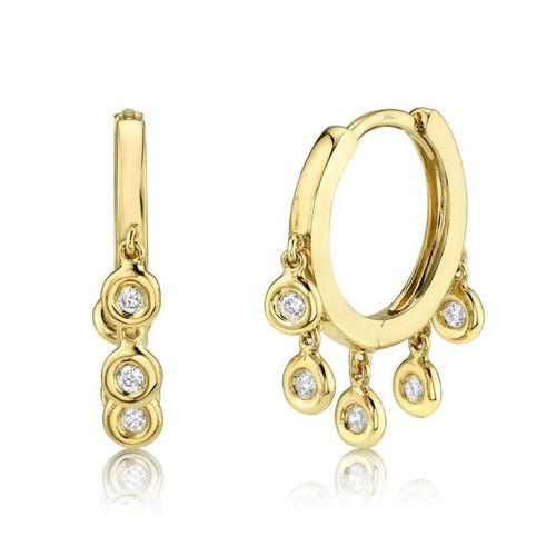 14KT Diamond Bezel Fringe Hoop Earrings