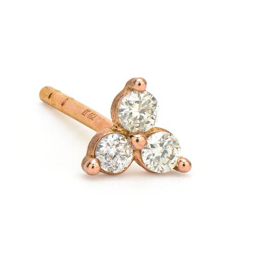 18KT Petite Diamond Trio Stud Earring