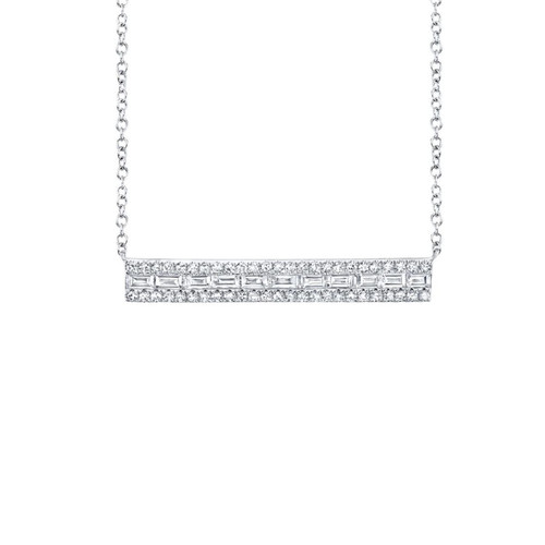 Diamond Pave and Baguette Bar Necklace