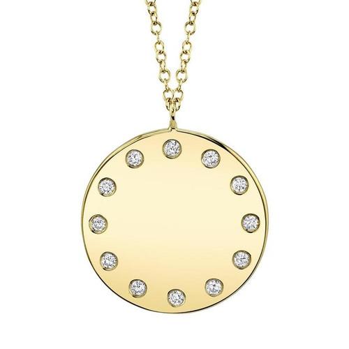 Diamond Edged Circle Pendant Necklace