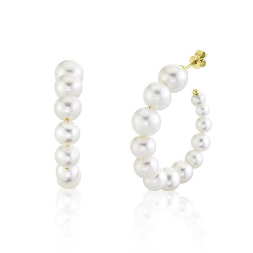 Graduated Pearl Hoop Earrings