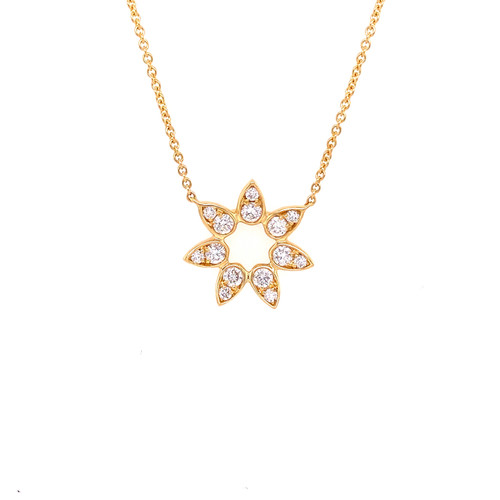 Open Diamond Pave Flower Necklace