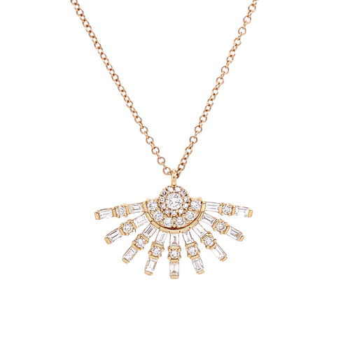Diamond Baguette Fan Necklace