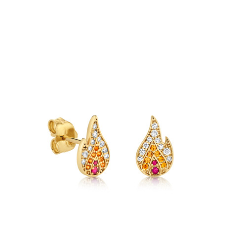 14KT Small Pave Flame Studs