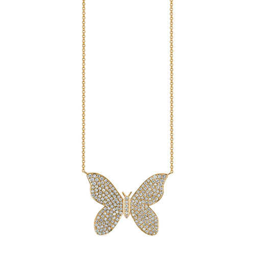 Large Pave Butterfly Necklace