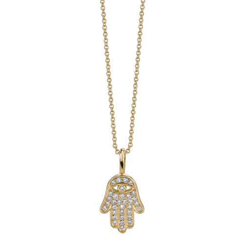 Mini Pave Hamsa Charm Necklace