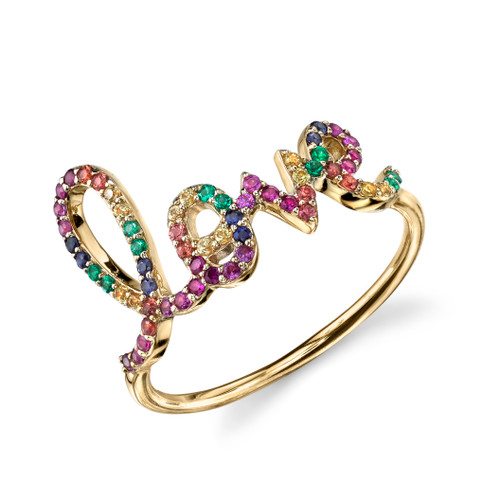 Multi Color Script Love Ring