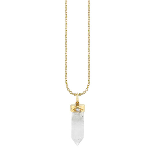 Carved Crystal Point Charm Necklace