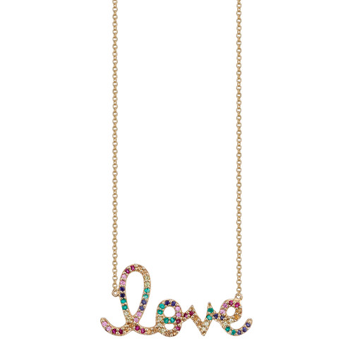 Rainbow Love Script Necklace