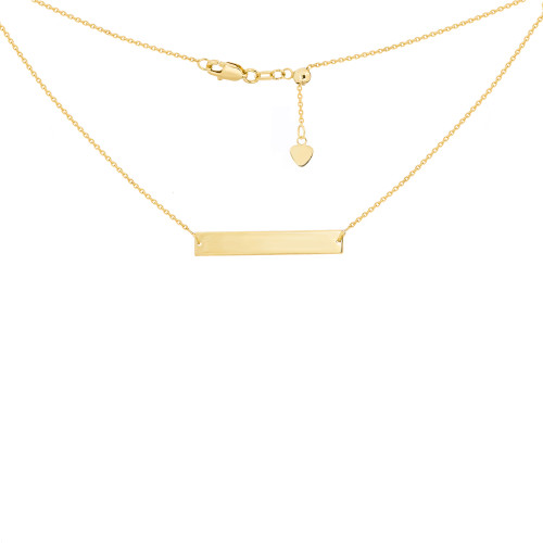 14KT Engravable Bar Necklace