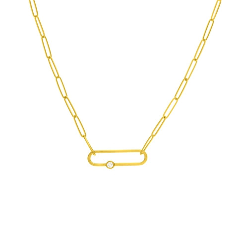 Diamond Link Paper Clip Chain Necklace