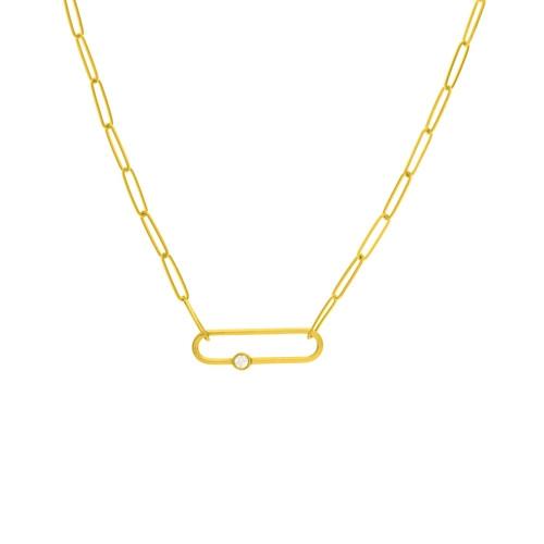 14KT Diamond Link Paper Clip Chain Necklace