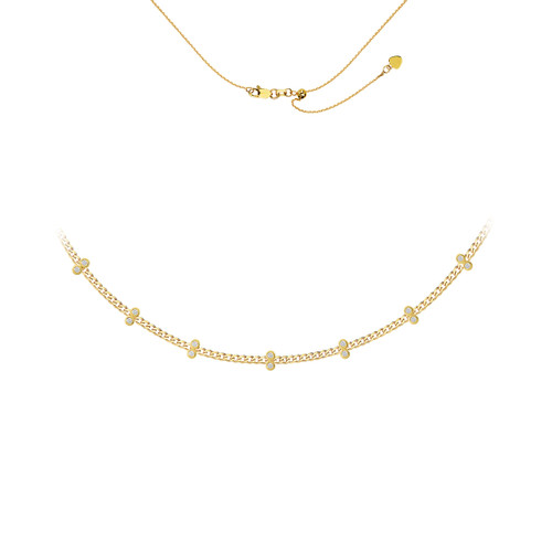 Diamond Station Curb Chain Choker Necklace