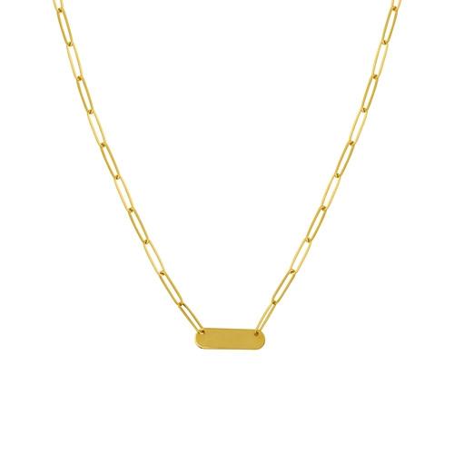 14KT Engravable Bar Paper Clip Chain Necklace