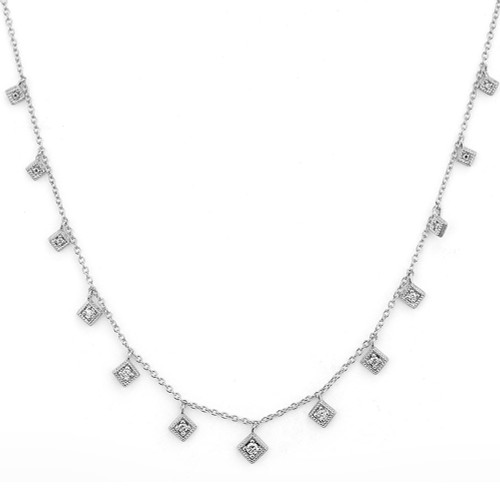 White Gold Lisse Dancing Diamonds Kite Necklace