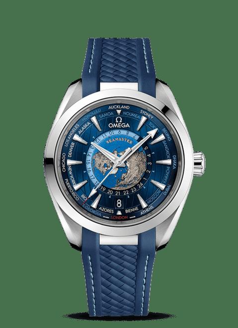 Seamaster Aqua Terra 150M Omega Co‑Axial Master Chronometer Gmt Worldtimer 43 mm Rubber Strap