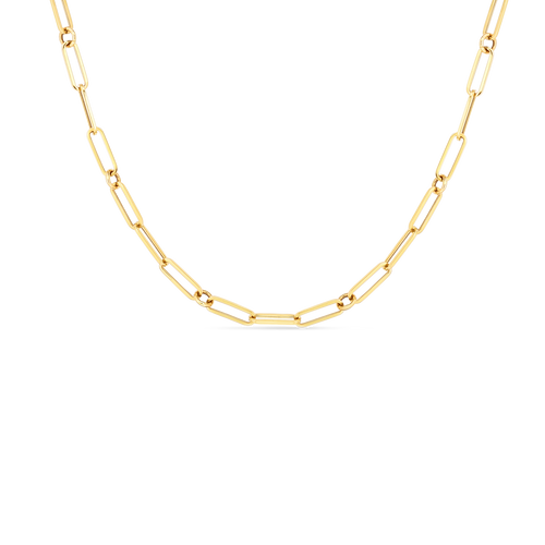18KT Hollow Paperclip Link Necklace