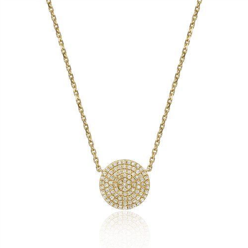 Diamond Pave Disk Necklace