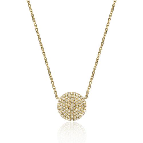 Diamond Pave Disk Necklace