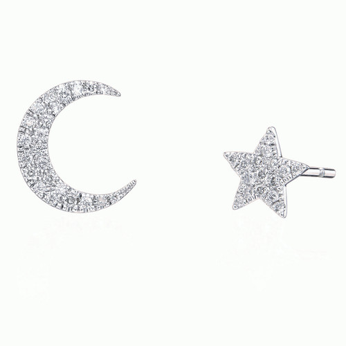 Pave Diamond Moon and Star Stud Earrings