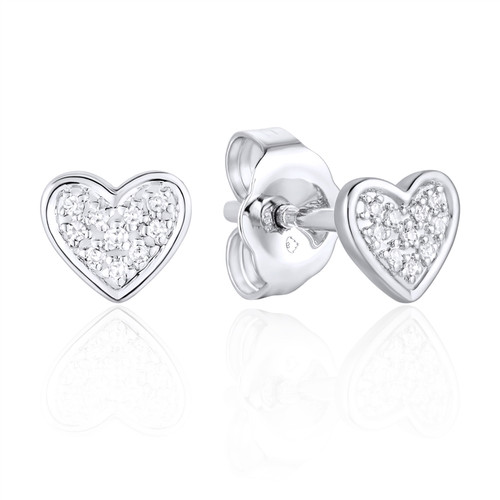 Petite Diamond Heart Stud Earrings