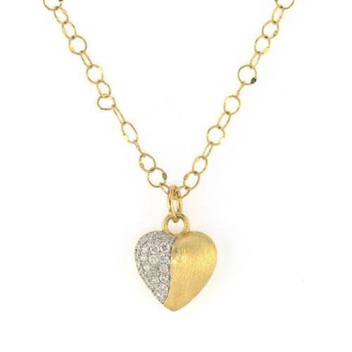 18KT Brushed Pave Heart Pendant Necklace