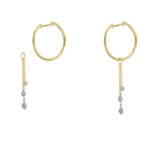 Hoop Earrings with Removable Diamond Dangle Charms