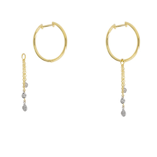 Hoop Earrings with Removable Diamond Dangle Charms