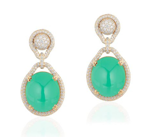 Large Oval Chrysoprase Earrings
