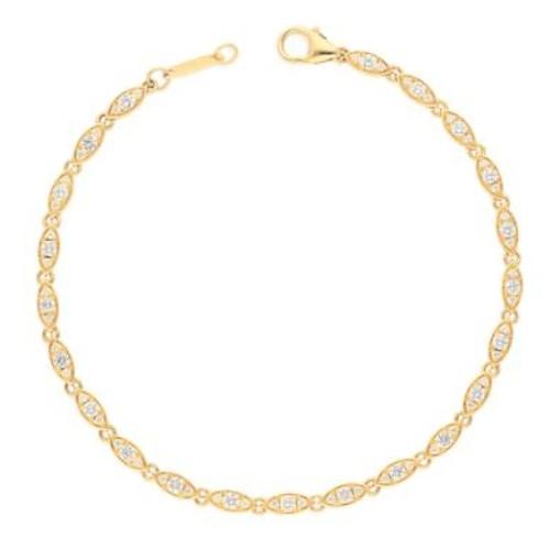14KT Oval Triple Bezel Diamond Bracelet