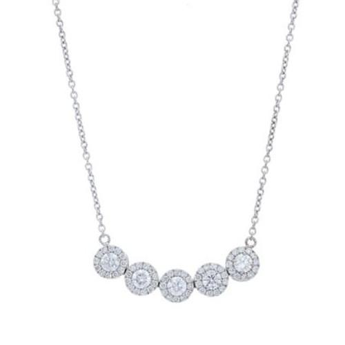14KT 5 Stone Halo Diamond Necklace