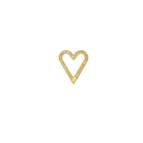 14KT Diamond Open Heart Push Lock