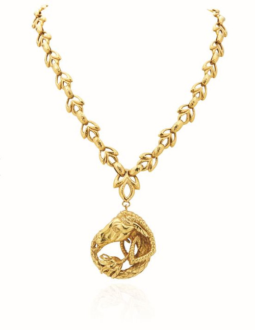 18KT Rams Head Pendant and Necklace