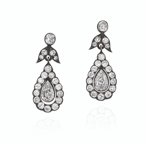 Silver Topped Gold Diamonds Earrings