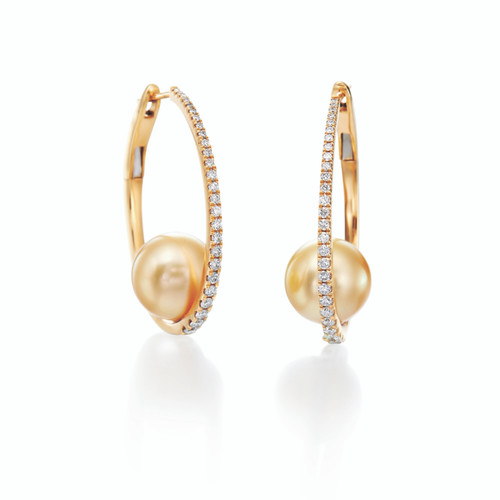 18KT Pave Diamond Golden Pearl Earrings