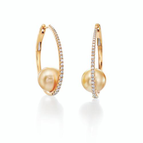 18KT Pave Diamond Golden Pearl Earrings