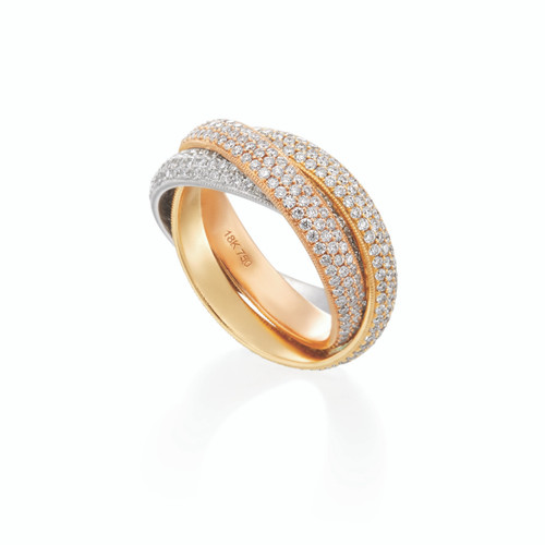 18KT Triple Dome Rolling Ring