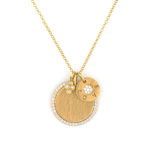 18KT Diamond Pave Disc & Love Charm Necklace