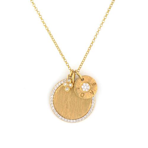 18KT Diamond Pave Disc & Love Charm Necklace