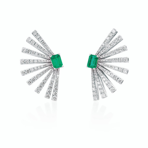 18KT Diamond and Emerald Fan Earrings