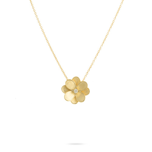 18KT Small Diamond Flower Pendant Necklace