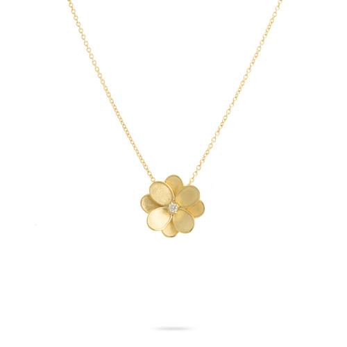 18KT Small Diamond Flower Pendant Necklace