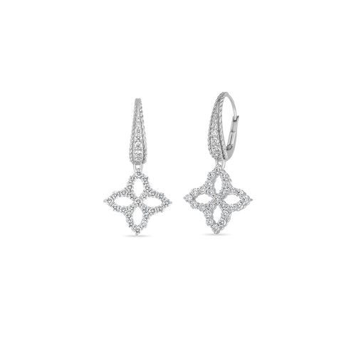 18KT Princess Flower Open Diamond Drop Earrings