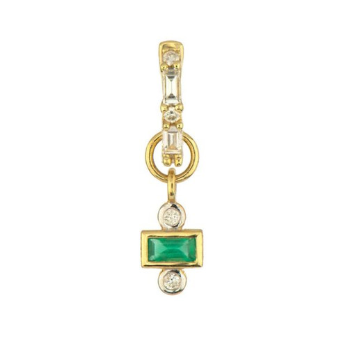 18KT Petite Emerald and Diamond Earring Charm