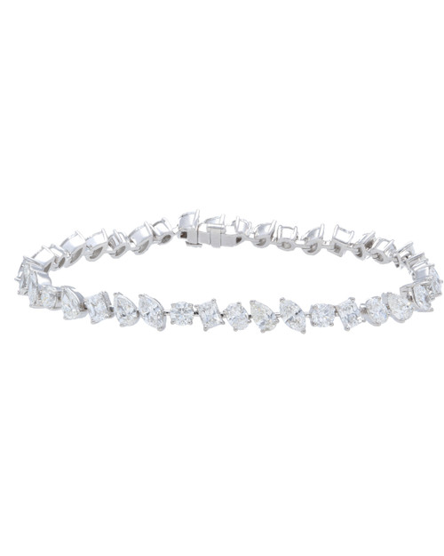 18KT Mixed Shaped Diamond Tennis Bracelet