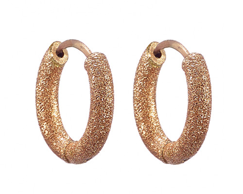 18KT Florentine Finish Round Huggy Hoops
