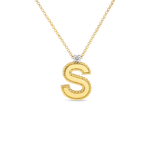18KT Diamond Princess Initial Necklace